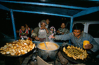 Midnight diner at an ambulant restaurant in Durbar square in Kathmandu City, Nepal