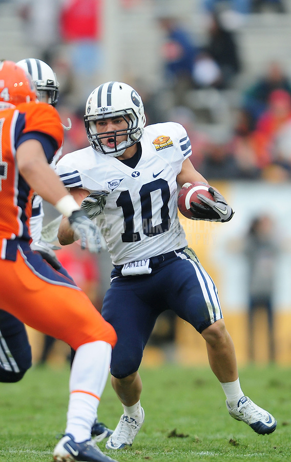 Dec. 18, 2010; Albuquerque, NM, USA; BYU Cougars running back (10) J.J. Di Luigi against the UTEP Miners in the 2010 New Mexico Bowl at University Stadium. BYU defeated UTEP 52-24. Mandatory Credit: Mark J. Rebilas-