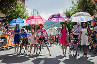 waiting for the Maglia Ciclamino/Fernando Gaviria (COL/Quick-Step Floors) to show up on the start line<br /> <br /> Stage 17: Tirano &rsaquo; Canaze (219km)<br /> 100th Giro d'Italia 2017