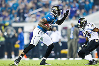 October 24, 2011:   Jacksonville Jaguars tight end Marcedes Lewis (89) runs with the ball after catching a pass during second half action between the Jacksonville Jaguars and the Baltimore Ravens played at EverBank Field in Jacksonville, Florida.  Jacksonville defeated Baltimore 12-7.........