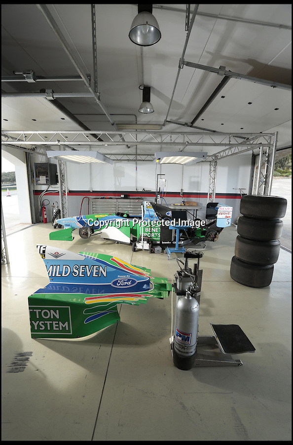 BNPS.co.uk (01202 558833)<br /> Pic: Bonhams/BNPS<br /> <br /> ***Please use full byline***<br /> <br /> Servicing could be an issue...<br /> <br /> One of the most historic F1 cars of all time is coming up for auction - with a glorious but poignant heritage.<br /> <br /> Its the Benetton F1 car which helped rising star Michael Schumacher win his first world championship in 1994.<br /> <br /> The German driver won four Grand Prix in this 1994 Benetton Cosworth Ford B194, including the famous Monaco race.<br /> <br /> But despite the historic car's successful history, it is linked to one of the darkest moments in motor racing history.<br /> <br /> Schumacher was driving this car immediately behind rival Ayrton Senna when the Brazilian driver was killed in a horrific 190mph crash at the Imola circuit in the 1994 San Marina GP.<br /> <br /> Schumacher climbed out of the vehicle moments after the accident and went on to win the race when it controversially restarted.<br /> <br /> The 200mph car is in perfect working order although you will need a F1 circuit to run the 3.5 litre 740bhp monster.<br /> <br /> Bonhams are selling the historic motor with a pre-sale estimate of £600,000.