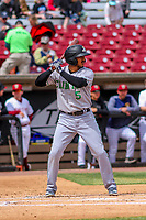 Clinton LumberKings third baseman Eugene Helder (5) at bat during a Midwest League game against the Wisconsin Timber Rattlers on April 26, 2018 at Fox Cities Stadium in Appleton, Wisconsin. Clinton defeated Wisconsin 7-3. (Brad Krause/Four Seam Images)