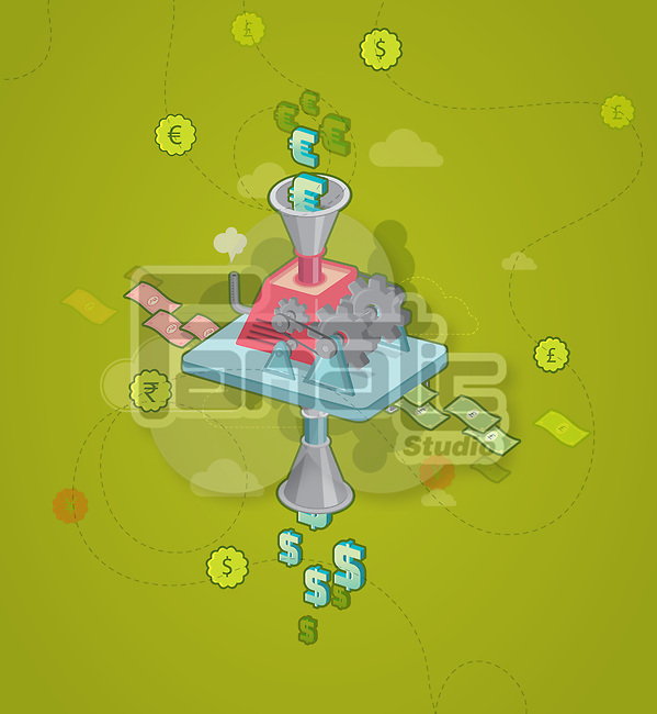 Illustration of Euro symbol getting in machinery with Dollar sign getting out depicting concept of currency exchange