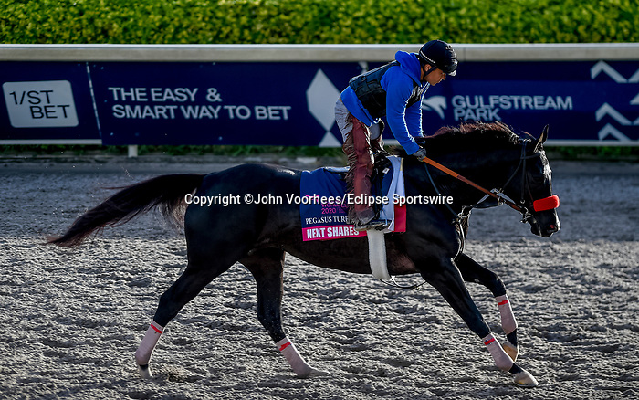 January 24, 2020: Next Shared gallops as horses prepare for the Pegasus World Cup Invitational at Gulfstream Park Race Track in Hallandale Beach, Florida. John Voorhees/Eclipse Sportswire/CSM