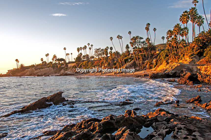 A gorgeous January day nearing sunset at the Heisler Park, Laguna Beach, California.