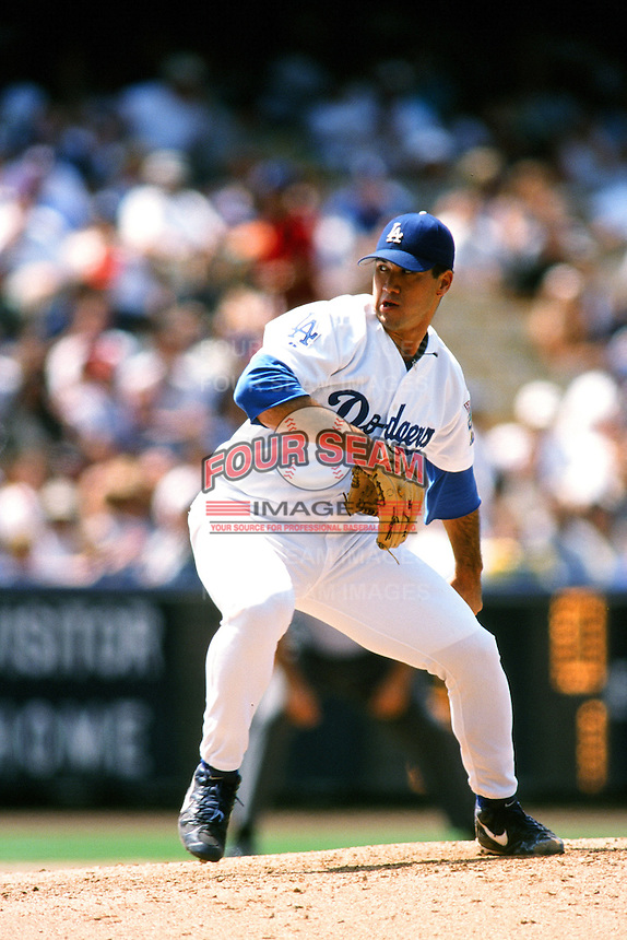 Onan Masaoka of the Los Angeles Dodgers during a game at Dodger Stadium circa 1999 in Los Angeles, California. (Larry Goren/Four Seam Images)