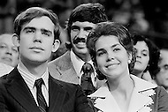 August 21st 1972, Miami, Florida, USA. David Eisenhower (the grandson of President Dwight Eisenhower) and his wife, Julie Nixon Eisenhower showing support for her father, the Republican President Richard Nixon, at the 1972 30th Republican Convention. Nixon is campaigning for presidential reelection against the South Dakota Democrat Senator George S. McGovern.
