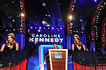 Caroline Kennedy, daughter of former president John F. Kennedy, addresses the Democratic National Convention and introduces her uncle, Senator Edward Kennedy, at the Pepsi Center in Denver, Colorado on August 25, 2008.