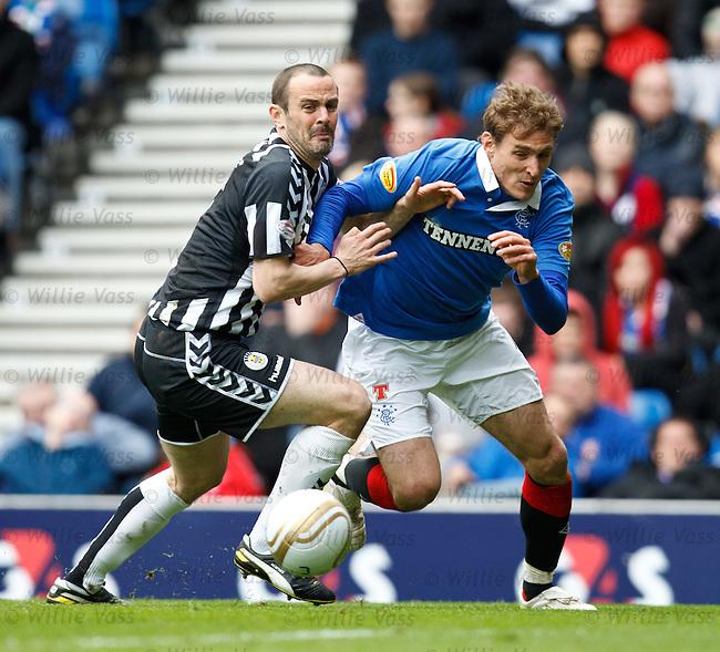John Potter hauls down Rangers striker Nikica Jelavic in the box for a penalty kick