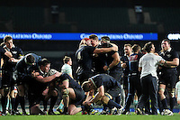 The Oxford University team celebrate at the final whistle. The Varsity Match between Oxford University and Cambridge University on December 10, 2015 at Twickenham Stadium in London, England. Photo by: Patrick Khachfe / Onside Images