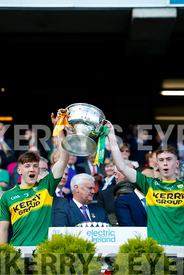 Michael Potts and Jack Griffin Kerry Minors celebrate with the Tom Markham Cup after defeating Derry in the All-Ireland Minor Footballl Final in Croke Park on Sunday.