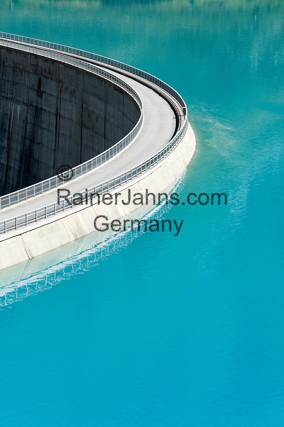 Switzerland, Canton Valais, near Grimentz: reservoir Lac de Moiry, elevation of 2.249 m - dam | Schweiz, Kanton Wallis, bei Grimentz: Stausee Lac de Moiry, 2.249 m - Staumauer