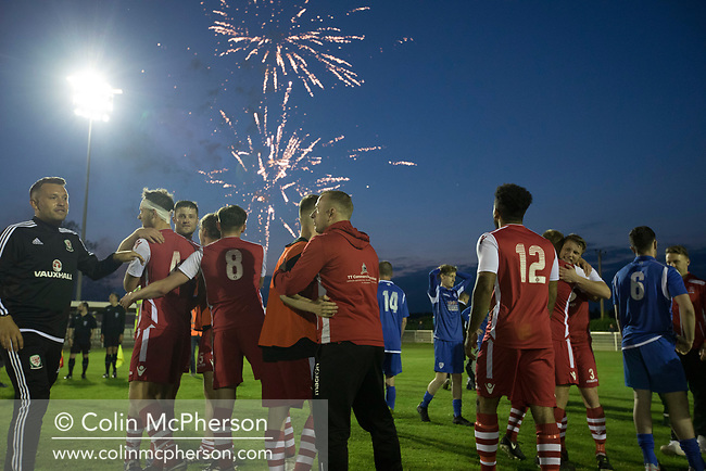 Home players celebrating their visctory at Yockings Park as Whitchurch Alport hosted Cammell Laird 1907 in the 2017-18 North West Counties Division One play-off final. Alport were formed in 1946 and were named after Alport Farm, Whitchurch, which had been the home of a local footballer Coley Maddocks who had been killed in action in the war. The home team won the match 2-1 watched by a crowd of 773, a club record attendance.