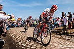Silvan DILLIER from Switzerland of AG2R La Mondiale at the 4 star cobblestone sector 26 from Fontaine-au-Tertre to Quievy during the 2018 Paris-Roubaix race, France, 8 April 2018, Photo by Pim Nijland / PelotonPhotos.com | All photos usage must carry mandatory copyright credit (Peloton Photos | Pim Nijland)