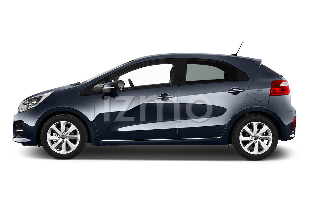 Car Driver side profile view of a2015 KIA Rio World Edition 5 Door Hatchback Side View