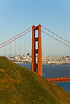 California: Golden Gate Bridge, view of Golden Gate Bridge and city.  Photo # 3-casanf78927. Photo copyright Lee Foster.