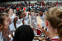 STANFORD, CA - NOVEMBER 17: Senior Nnemkadi Ogwumike addresses her team as Stanford hosted Old Dominion University at Maples Pavilion. The Cardinal defeated Big Blue 97-48.