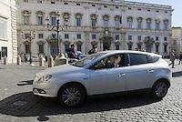 Roma, 14 Febbraio 2014<br /> Quirinale<br /> Enrico Letta arriva da solo guidando l'automobile per rassegnare le dimissioni e saluta la stampa