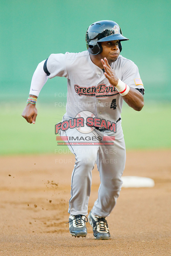 Delino DeShields Jr. #4 of the Greeneville Astros takes off for third base against the Pulaski Mariners at Calfee Park August 29, 2010, in Pulaski, Virginia.  Photo by Brian Westerholt / Four Seam Images