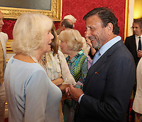 12 July 2016 - London, England - Camilla, Duchess of Cornwall, chats to Rocco Forte as she hosts the 30th Anniversary Garden Party for the National Osteoporosis Society in St James Palace in London. Due to inclement weather the event was moved indoors. The Duchess of Cornwall has been connected with the charity for nearly 30 years. Photo Credit: ALPR/AdMedia