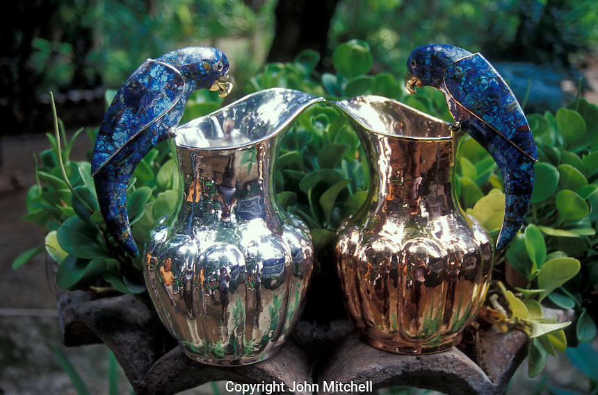 Silver-plated pitchers with parrot-shaped lapis lazuli handles, Los Castillo silver workshop in Taxco Viejo, Guerrero, Mexico