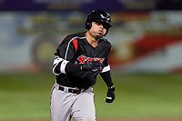 Lake Elsinore Storm right fielder Tirso Ornelas (23) hustles towards third base for a first-inning triple during a California League game against the Lancaster JetHawks on April 10, 2019 at The Hanger in Lancaster, California. Lancaster defeated Lake Elsinore 8-5 in the second game of a doubleheader. (Zachary Lucy/Four Seam Images)