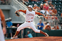 Texas Longhorns pitcher Kirby Bellow #13 delivers during the NCAA baseball game against the Texas A&M Aggies on April 28, 2012 at UFCU Disch-Falk Field in Austin, Texas. The Aggies beat the Longhorns 12-4. (Andrew Woolley / Four Seam Images).