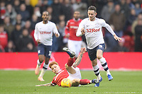 Preston North End's Alan Browne battles with  Nottingham Forest's Jack Colback<br /> <br /> Photographer Mick Walker/CameraSport<br /> <br /> The EFL Sky Bet Championship - Nottingham Forest v Preston North End - Saturday 8th December 2018 - The City Ground - Nottingham<br /> <br /> World Copyright © 2018 CameraSport. All rights reserved. 43 Linden Ave. Countesthorpe. Leicester. England. LE8 5PG - Tel: +44 (0) 116 277 4147 - admin@camerasport.com - www.camerasport.com