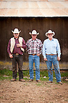 Three brothers: Doug, Elliot & Gary Joses, after calf marking and branding with Gary Joses at the Guttenger Barn, San Andreas, Calif.