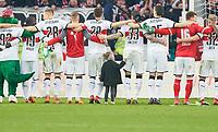 celebration  VFB team and Fans , kleines Maedchen zupft an Hose of  Daniel GINCZEK, VFB 33 <br /> VFB STUTTGART - RB LEIPZIG<br /> Football 1. Bundesliga , Stuttgart,11.03.2018, 26. match day,  2017/2018, 1.Liga, 1.Bundesliga, VFB, RB, Red Bull, <br />  *** Local Caption *** © pixathlon<br /> Contact: +49-40-22 63 02 60 , info@pixathlon.de