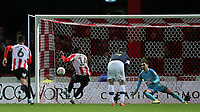 Josh DaSilva scores Brentford's seventh goal and his third from the penalty spot during Brentford vs Luton Town, Sky Bet EFL Championship Football at Griffin Park on 30th November 2019