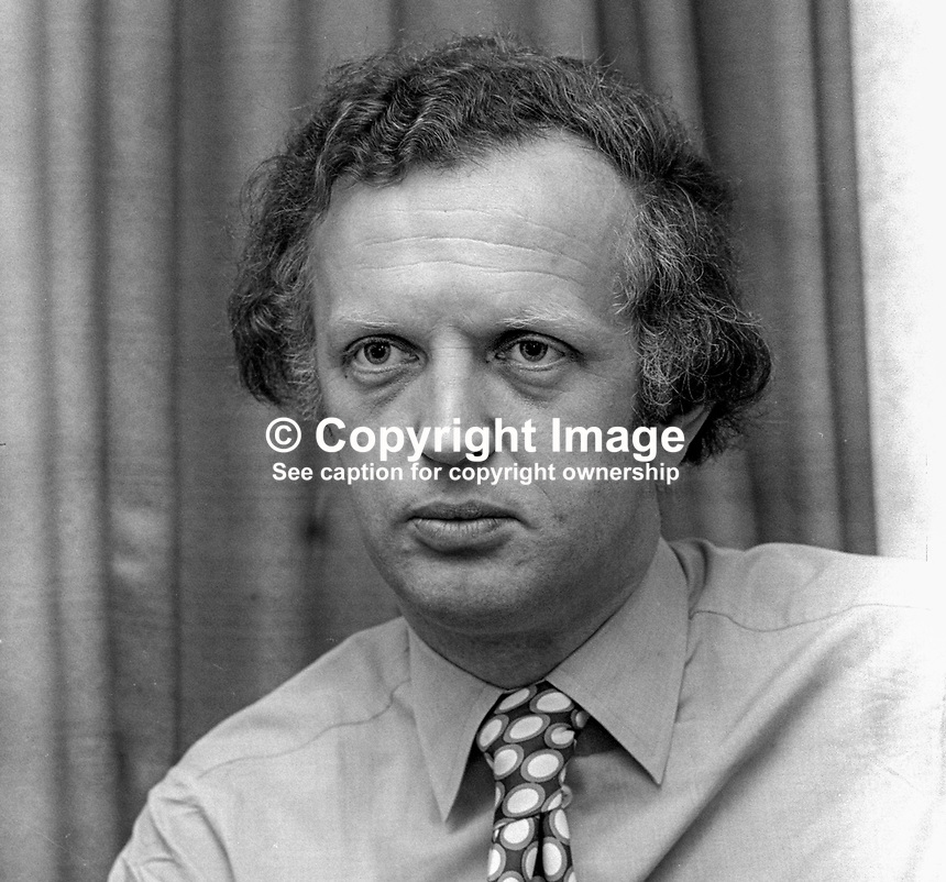 Julian Jaccottet, secretary, SDLP, Social Democratic &amp; Labour Party, N Ireland, UK, August, 1972, 197208220510<br /> <br /> Copyright Image from Victor Patterson,<br /> 54 Dorchester Park, <br /> Belfast, UK, BT9 6RJ<br /> <br /> t1: +44 28 9066 1296 (from Rep of Ireland 048 9066 1296)<br /> t2: +44 28 9002 2446 (from Rep of Ireland 048 9002 2446)<br /> <br /> m: +44 7802 353836<br /> <br /> e: victorpatterson@me.com<br /> www.victorpatterson.com<br /> <br /> Please see my Terms and Conditions of Use at www.victorpatterson.com. It is IMPORTANT that you familiarise yourself with them.<br /> <br /> Images used on the Internet must be visibly watermarked i.e. &copy; Victor Patterson<br /> within the body of the image and copyright metadata must not be deleted. Images <br /> used on the Internet have a size restriction of 4kbs and will be chargeable at current<br />  NUJ rates unless agreed otherwise.<br /> <br /> This image is only available for the use of the download recipient i.e. television station, newspaper, magazine, book publisher, etc, and must not be passed on to any third <br /> party. It is also downloaded on condition that each and every usage is notified within 7 days to victorpatterson@me.com<br /> <br /> The right of Victor Patterson to be identified as the author is asserted in accordance with The Copyright Designs And Patents Act (1988). All moral rights are asserted.