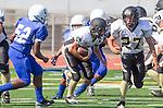 Culver City, CA 09/12/13 - Emilio Nunziati (Peninsula #9) and Nick Orlando (Peninsula #27) in action during the Peninsula vs Culver City Junior Varsity game at Culver City High School.