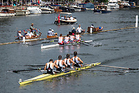 """Henley on Thames, United Kingdom, 8th July 2018, Sunday, Mosley BC, lead home, Mercantile RC. Australia, to win """"The Wyford Challenge Cup,   """"Fifth day"""", of the annual,  """"Henley Royal Regatta"""", Henley Reach, River Thames, Thames Valley, England, © Peter SPURRIER,"""