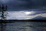 Afternoon thunderstorm over Crane Prairie Reservoir, South Sister, Broken Top and Mount Bachelor; Deschutes National Forest, Oregon.