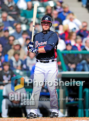 3 March 2010: Atlanta Braves' infielder Chipper Jones in action during a Grapefruit League game against the New York Mets at Champion Stadium in the ESPN Wide World of Sports Complex in Orlando, Florida. The Braves defeated the Mets 9-5 in the Spring Training matchup. Mandatory Credit: Ed Wolfstein Photo