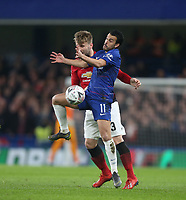 Chelsea's Pedro and Manchester United's Luke Shaw<br /> <br /> Photographer Rob Newell/CameraSport<br /> <br /> Emirates FA Cup Fifth Round - Chelsea v Manchester United - Monday 18th February - Stamford Bridge - London<br />  <br /> World Copyright © 2019 CameraSport. All rights reserved. 43 Linden Ave. Countesthorpe. Leicester. England. LE8 5PG - Tel: +44 (0) 116 277 4147 - admin@camerasport.com - www.camerasport.com