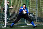 110410 Ume&aring;s m&aring;lvakt Caroline J&ouml;nsson under fotbollsmatchen i Damallsvenskan mellan Hammarby och Ume&aring; den 10 April 2011 i Stockholm. <br /> Foto: Kenta J&ouml;nsson<br /> Nyckelord: fotboll, damallsvenskan, hammarby, ume&aring;