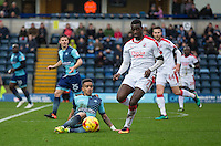 Paris Cowan-Hall of Wycombe Wanderers beats Enzio Boldewijn of Crawley Town to the ball during the Sky Bet League 2 match between Wycombe Wanderers and Crawley Town at Adams Park, High Wycombe, England on 25 February 2017. Photo by Andy Rowland / PRiME Media Images.