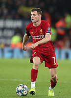 27th November 2019; Anfield, Liverpool, Merseyside, England; UEFA Champions League Football, Liverpool versus SSC Napoli ; James Milner of Liverpool controls the ball and looks up for a pass  - Editorial Use