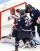 Matt Lane (BU - 21), Kyle Huson (UConn - 4) - The Boston University Terriers defeated the visiting University of Connecticut Huskies 4-2 (EN) on Saturday, October 24, 2015, at Agganis Arena in Boston, Massachusetts.
