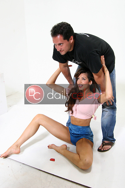 Angela Taylor and Brian Wallos<br /> at a Benchwarmer photo shoot for their upcoming Classic Pin-Up Trading Card series, Private Location, Westlake Village, CA 06-27-05<br /> <br /> David Edwards/DailyCeleb.com 818-249-4998