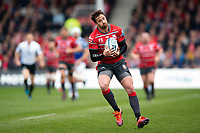 Danny Cipriani of Gloucester Rugby claims the ball. Gallagher Premiership match, between Gloucester Rugby and Bath Rugby on April 13, 2019 at Kingsholm Stadium in Gloucester, England. Photo by: Patrick Khachfe / Onside Images