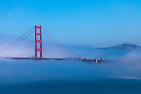 Golden Gate Bridge in fog from Lincoln Park San Fransisco