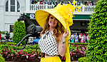 LOUISVILLE, KY - MAY 05: A woman wears a fancy yellow haton Kentucky Derby Day at Churchill Downs on May 5, 2018 in Louisville, Kentucky. (Photo by Eric Patterson/Eclipse Sportswire/Getty Images)
