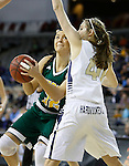 RAPID CITY, SD - FEBRUARY 24, 2016 -- Sierra Toms #32 of Black Hills State drives into Marissa Hirchert #40 of South Dakota Mines during their college basketball game Wednesday at the Rushmore Plaza Civic Center Ice Arena, S.D.  (Photo by Dick Carlson/Inertia)