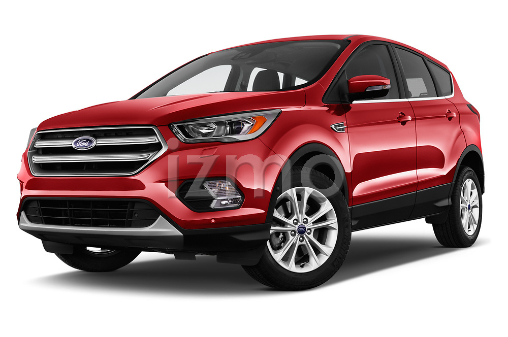 Stock pictures of low aggressive front three quarter view of 2017 Ford Kuga Titanium 5 Door SUV Low Aggressive