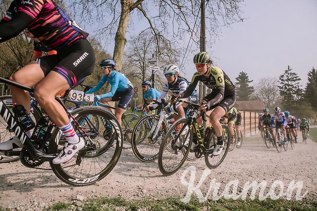 Sarah Roy (AUS/Mitchelton-Scott) & Letizia Paternoster (ITA/Trek-Segafredo) on the Plugstreets, <br /> <br /> 8th Gent-Wevelgem In Flanders Fields 2019 <br /> Elite Womens Race (1.WWT)<br /> <br /> One day race from Ypres (Ieper) to Wevelgem (137km)<br /> ©JojoHarper for Kramon