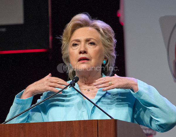 Hillary Clinton, the Democratic Party nominee for President of the United States, makes remarks at the 2016 National Association of Black Journalists (NABJ) and National Association of Hispanic Journalists (NAHJ) joint convention at the Washington Marriott Wardman Park Hotel in Washington, DC on Friday, August 5, 2016.  Following her prepared remarks, Secretary Clinton took questions from the moderators and from the audience.<br /> Credit: Ron Sachs / CNP/MediaPunch<br /> (RESTRICTION: NO New York or New Jersey Newspapers or newspapers within a 75 mile radius of New York City)