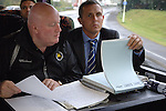 Aldershot Town 0 Torquay United 3, 15/08/2007. Football Conference. Torquay's first game in the Blue Square Premier. A 330 mile round trip to Aldershot Town's Recreation Ground. Manager Paul Buckle and scout John Milton compare notes on the team bus on route to the game.